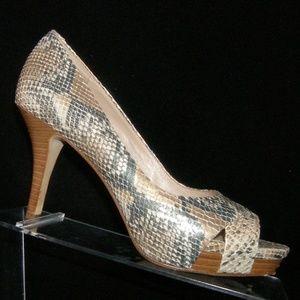 Via Spiga multi-colored snake print heels 7M